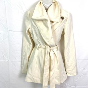 FOREVER 21 CONTEMPORARY Ivory 3/4 Coat Jacket sz M